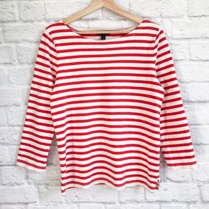 J. Crew Striped Boatneck T-shirt Red Stripe